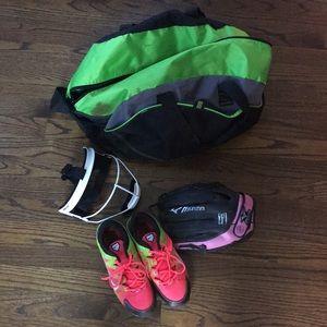 Girl's softball gear